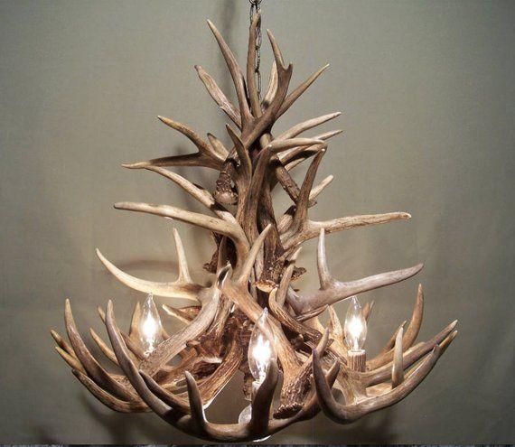 Real Antler Chandelier Rustic Pendant Chandelier Deer Etsy