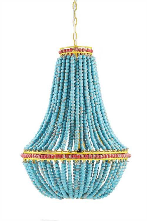 """17-1/2"""" Round x 26""""H Wood Beaded Chandelier Blue 40 Watt Bulb Maximum All Shady Oaks Farm Lighting is Special Order and will ship 4-6 weeks from date of order. If you need your lighting sooner, please"""