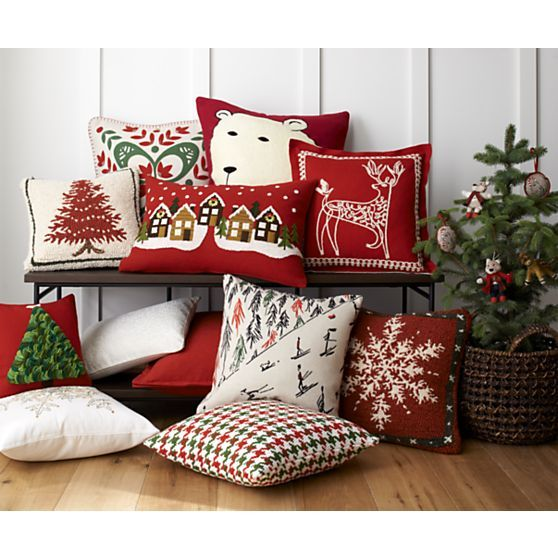 polar bear 23 holiday pillow crate and barrel christmas decorations pinterest crates. Black Bedroom Furniture Sets. Home Design Ideas