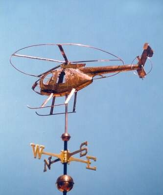 McDonald Douglas MD-600E Helicopter Weather Vane.  This handcrafted custom made McDonald Douglas helicopter weathervane can be made using a variety of metals and optional gold or palladium leafing.    by West Coast Weather Vanes