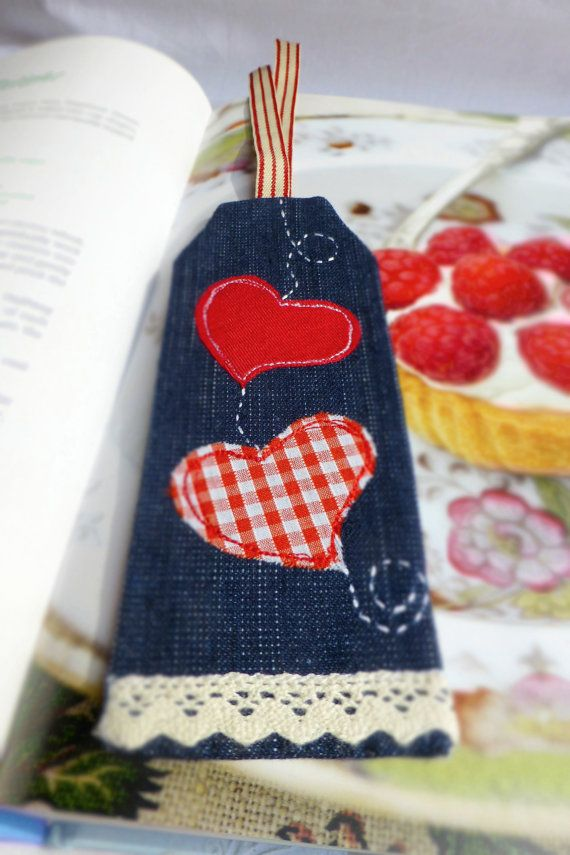 Fabric bookmark - hand made and embroidered with hearts - free hand machine embroidery