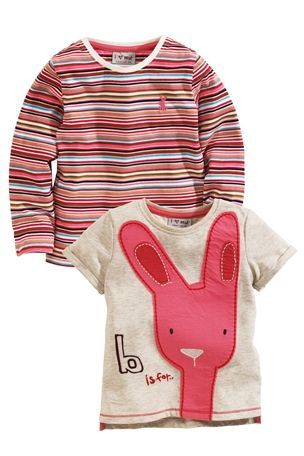 3-6 mth Buy Oatmeal Appliqué Bunny And Multi Stripe Tops Two Pack (3mths-6yrs) from the Next UK online shop