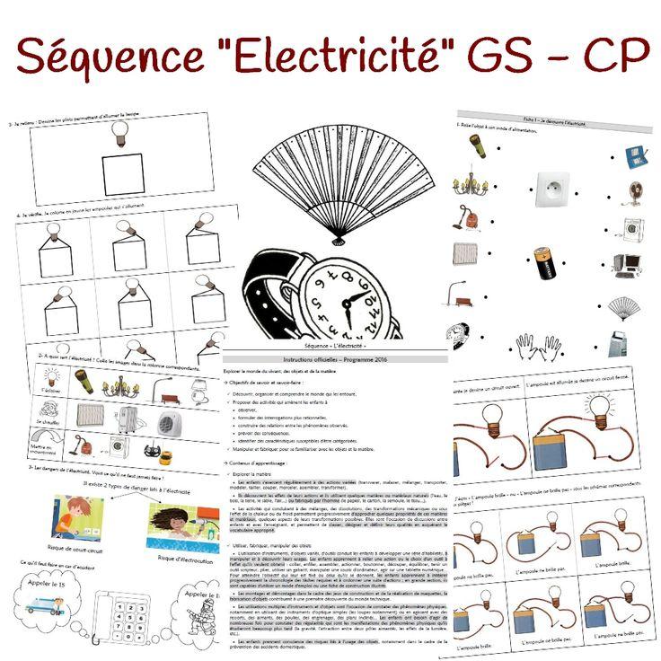 Voici une séquence portant sur l'électricité pour une classe de GS et/ou CP. Après ma séquence destinée à une classe de CP/CE1, voici une version adaptée à des élèves de grande section et de CP. Les deux séquences peuvent se compléter, elles permettent également de différencier. Cette séquence propose le déroulement suivant : Séance 1 - Séance d'introduction - Les objets électriques et les dangers de l'électricité Séance 2 - Faire briller une lampe avec une pile 1/...