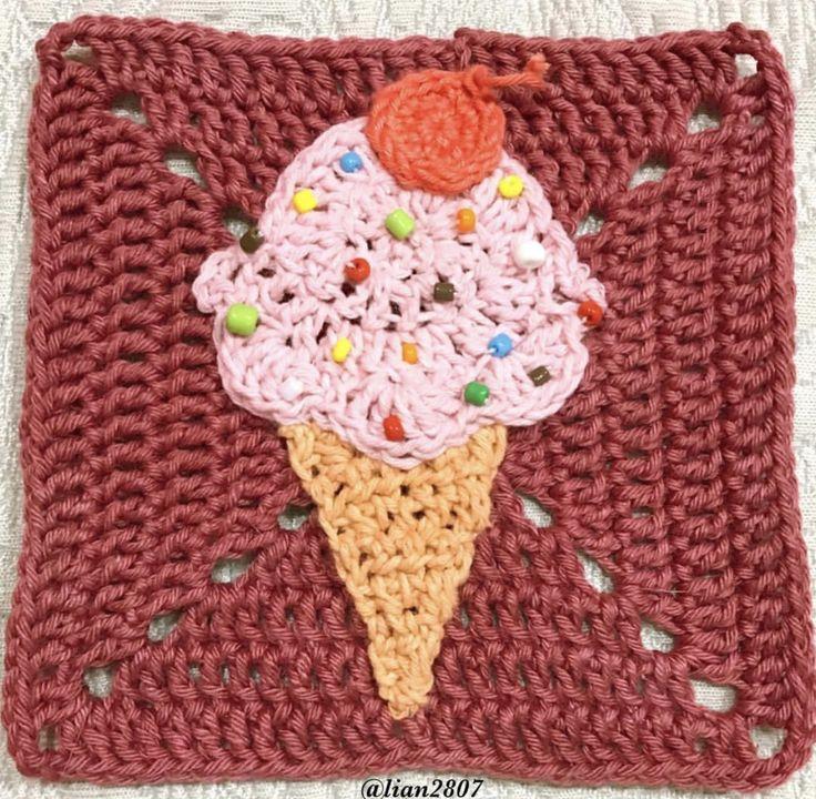 An ice cream cone granny square