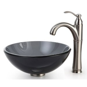 Clear  Inch Black Glass Vessel Sink And Riviera Faucet Satin Nickel