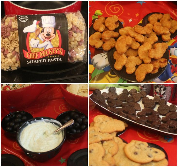 Mickey themed food - LOVE the idea of using 3 black bowls together to look like Mickey!
