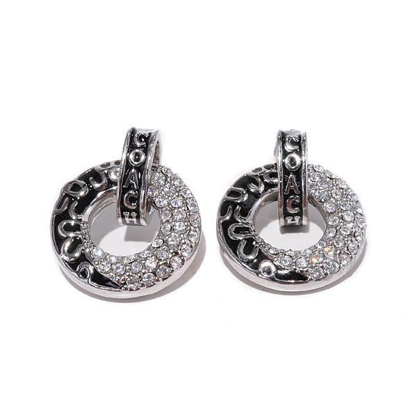 Coach Logo Circle Silver Earrings BZH #Outlet