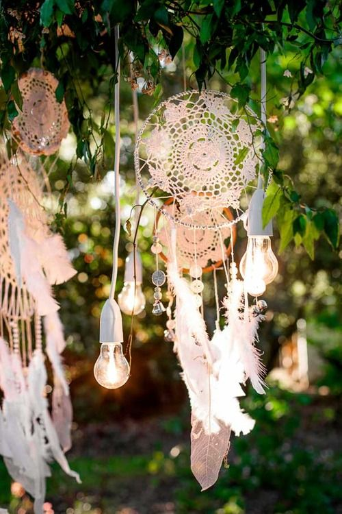 dream catchers, feathers, & twinkle lights