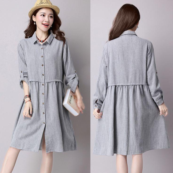 Plus Size Vestido De Festa New Women Maternity Dress Comfortable Cotton Linen Long Sleeve Casual for Pregnant CE086 #Affiliate