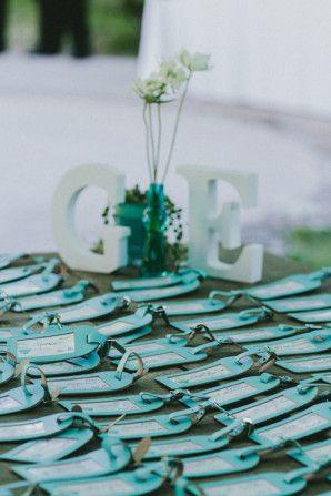teal luggage tags as escort cards http://weddingwonderland.it/2015/11/matrimonio-tema-viaggi-turchese.html