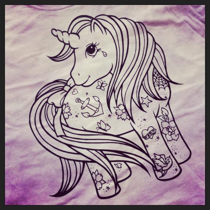 Close up of Tattoo'd Pony print