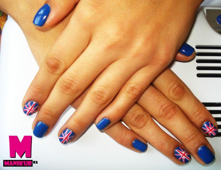 британский маникюр, покрытие гель-лак, маникюр с британским флагом