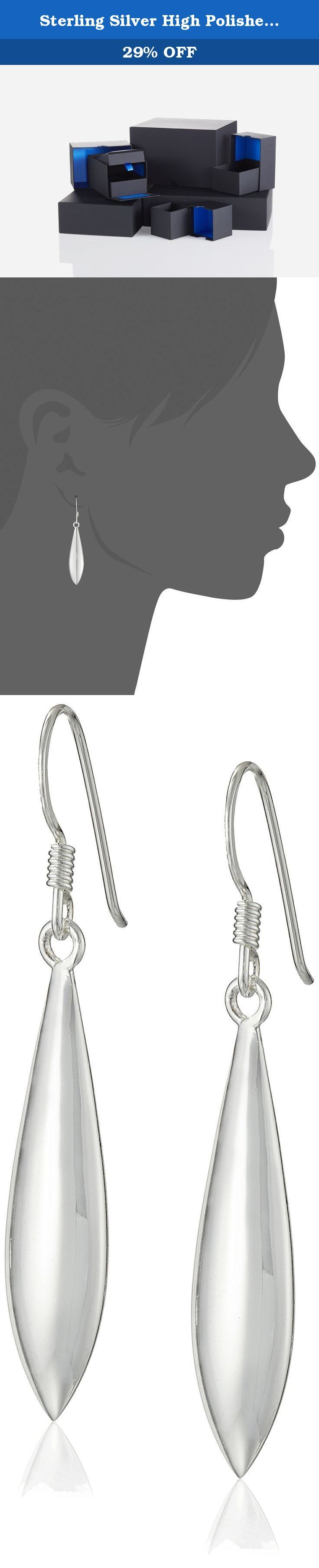 Sterling Silver High Polished Elongated Oval Puff Drop French Wire Earrings. Tapered teardrop shapes of brightly polished sterling silver hang from sterling hooks in these long and linear fashion earrings. Wear them anytime you want to shine.