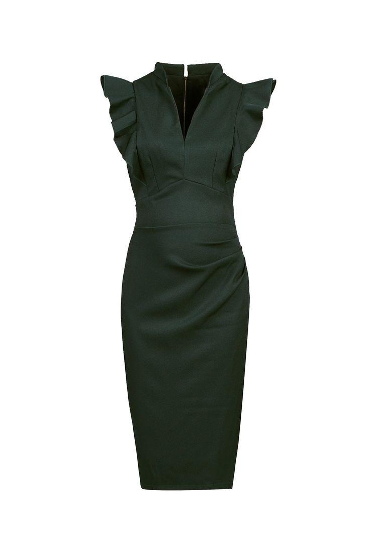 Forest Green Ruffle Shoulder Bodycon Pencil Dress