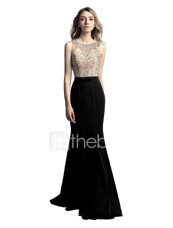 A sirena Con decorazione gioiello Lungo Raso chiffon Cena di famiglia Serata formale Vestito con Perline di Sarahbridal del 6235749 2017 a €202.78