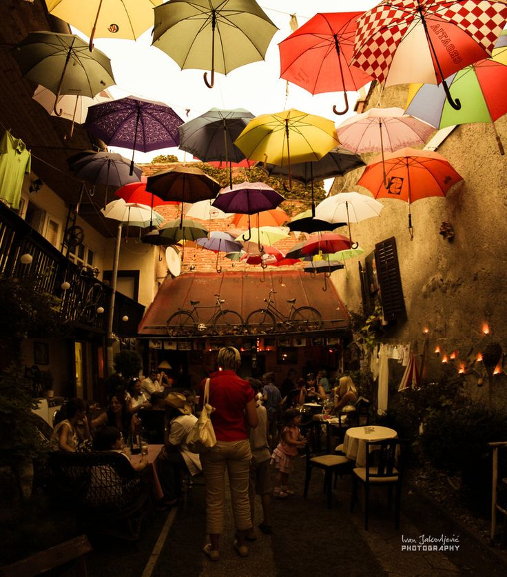 Unusual caffe bar by ~IJPhotography - Croatia. Špancirfest 2012, Festival in Varaždin. Little caffee place with colorful roof and random old and traditional stuff around with pleasent ambient.
