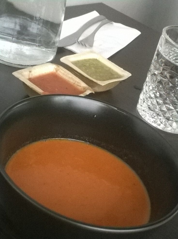 Having a lunch at Eatos, new Mexican restaurant in Helsinki. Starting with cream of pepper. http://www.eatos.fi/
