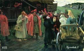У кружала стрельцы гуляют - Борис Кустодиев