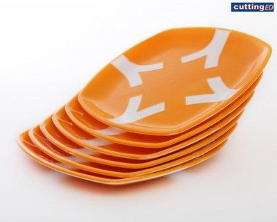 Cutting EDGE Polypropylene  Microwaveable Dual Colour Plates (Set Of 6) (Orange) Buy Online Best Price