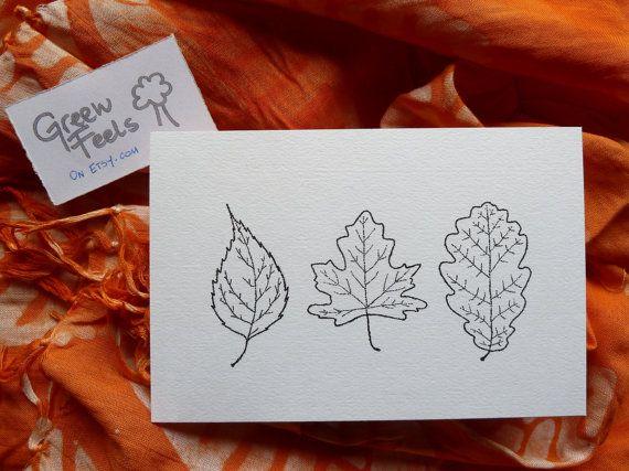 Disegno fatto a mano cartolina natura foglie di GreenFeels su Etsy