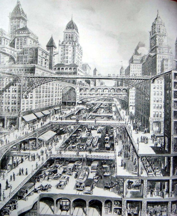 """An Impression of a Multi-Level Transit City by W.H. Corbett, 1913 drawing """"City of the Future""""."""