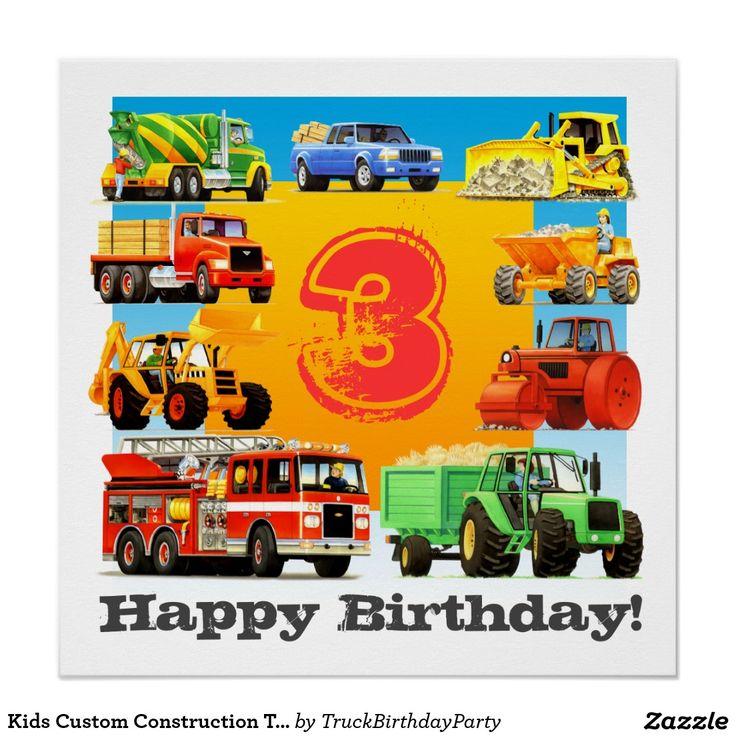 Kids Custom Construction Truck Happy Birthday Perfect Poster