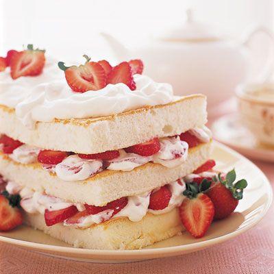 Strawberry-Angel Food Layer Cake #fruits #spring #desserts