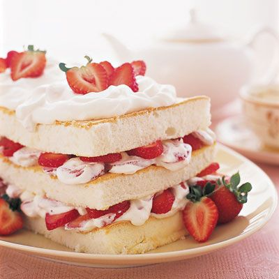 "Strawberry-Angel Food Layer Cake. ""Triple-tested at the Good Housekeeping Research Institute."""