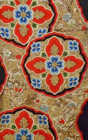 Vintage Japanese Kimono Silk Brocade Obi, detail.