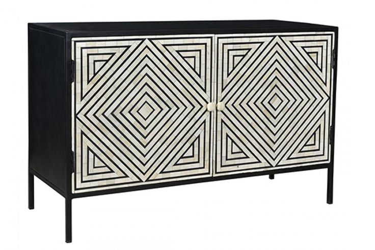 Bone Inlay Geometric Stripe Design Cabinet Table in Black color with