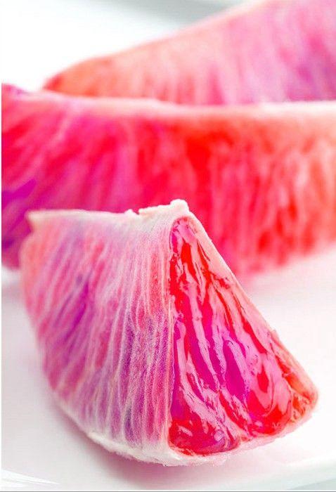 Pink fruit.