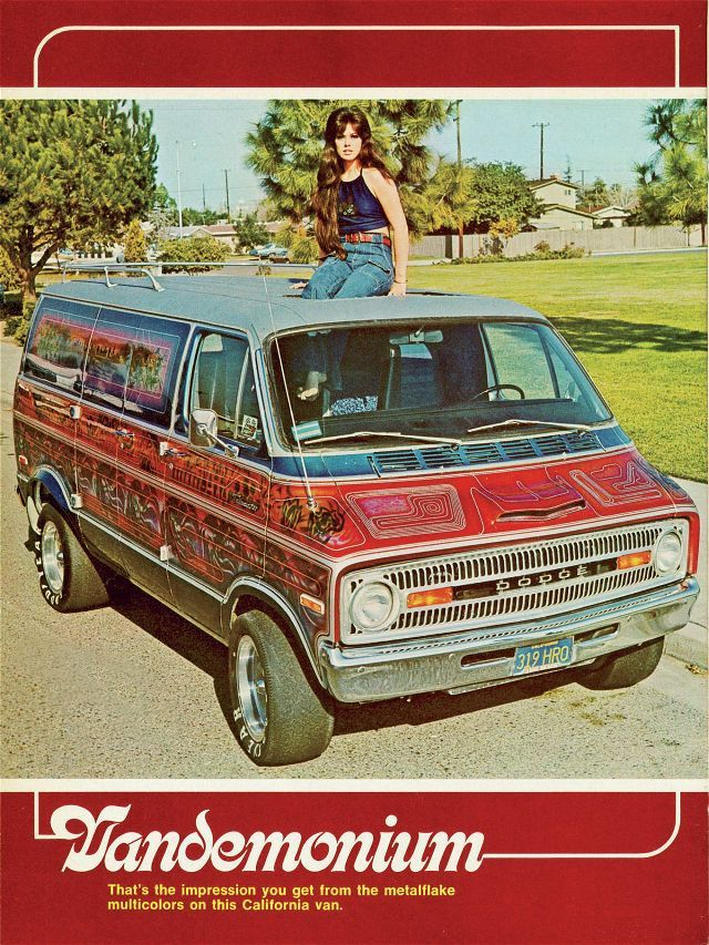 Moon on the moon-roof of this Dodge Van.