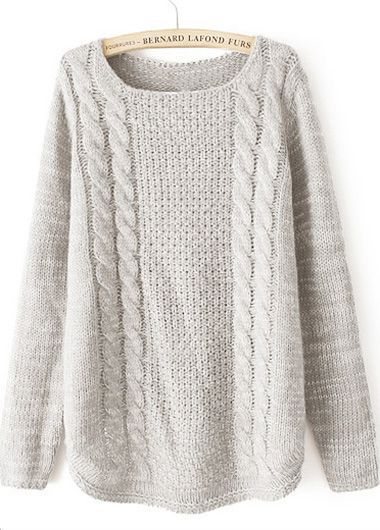 Long Sleeve Round Neck Beige Sweater