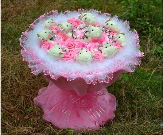 Cartoon bouquet ours fleurs graduation cadeau anniversaire pour envoyer sa petite amie poupée ours en peluche bouquets de roses en main