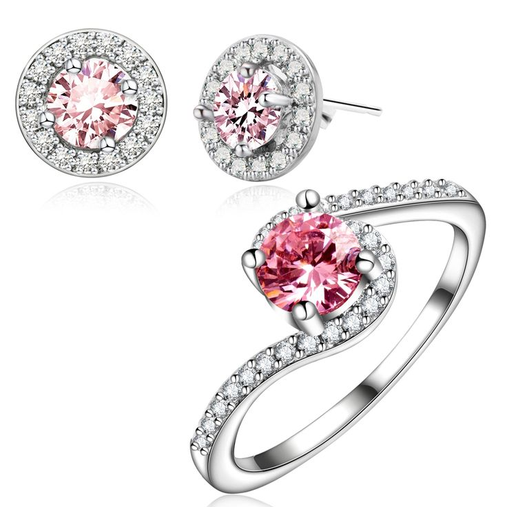 Yunkingdom Unique Charm Jewelry Sets TOP Earrings White Gold Plated Rings Pink crystal zircon Pendant Costume Accessories LPG16