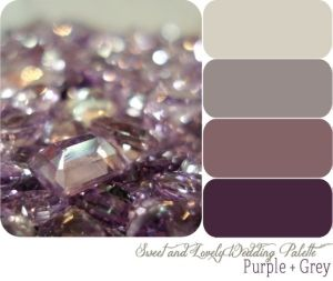 Master bedroom colors, grey walls, antique purple quilt, plum, silver and glass accents!