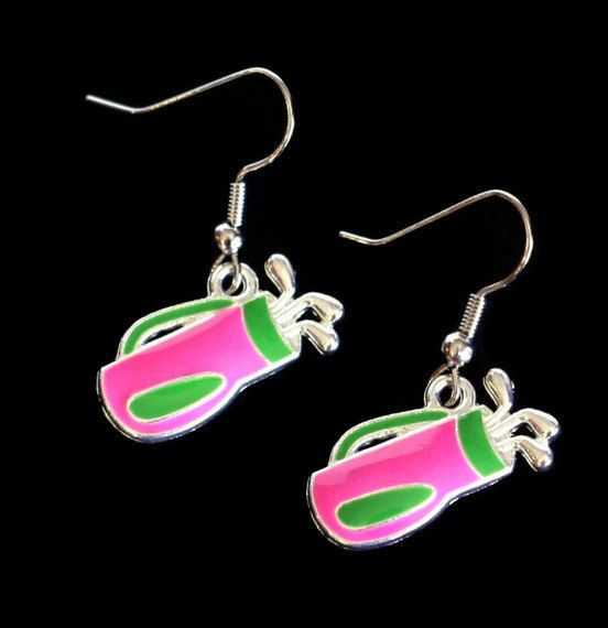 Hot Pink and Green Golf Bag with Clubs Enamel by SummerWilson8,