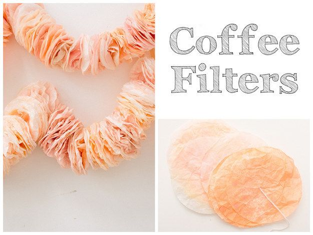 Dyed coffee filters create an insanely gorgeous garland. | 32 Unbelievably Cheap And Beautiful DIY Photo Backdrops