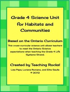 Grade 4 Science Unit for Habitats and Communities....matches the Ontario curriculum! Over 160 pages of lessons, activities, and printables with a focus of centres, differentiated instruction, technology integrations, cross-curricular activities, and assessment for and as learning! www.teachingrocks.ca