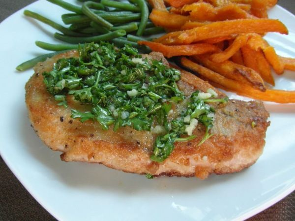 Fried Pork Chops with Parsley Butter