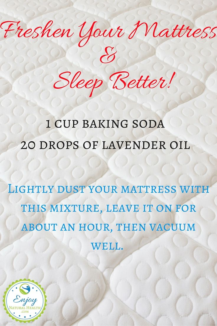 Freshen your mattress and sleep better tonight! All you need is baking soda and your favorite oil. For better sleep, I suggest lavender oil, but you can use so many others!  This is only one of the 101 baking soda uses you'll find when you click on the image ;)