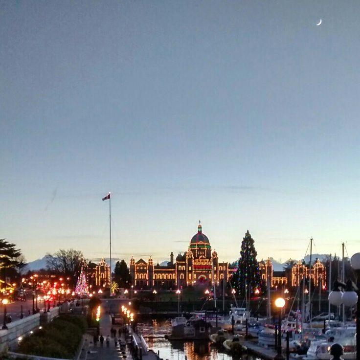 Provincial Legislative Building, Victoria, BC complete with moon.