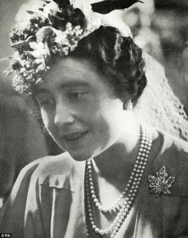 Set with diamonds, the brooch was given to her mother (pictured) by her father George VI i...
