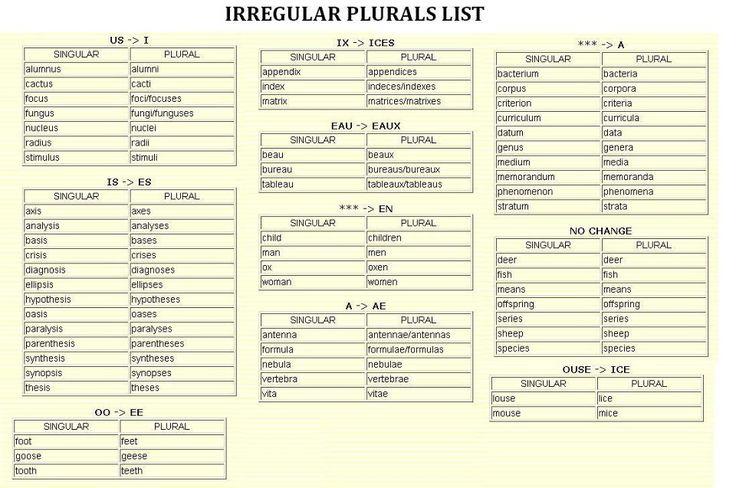 Irregular PluralsList