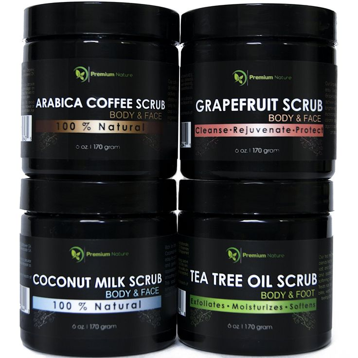 Body Scrubs Gift Variety 4 Pack 6 oz each, Grapefruit, Coffee, Tea Tree Oil and Coconut Milk Scrub by Premium Nature >>> More info could be found at the image url.