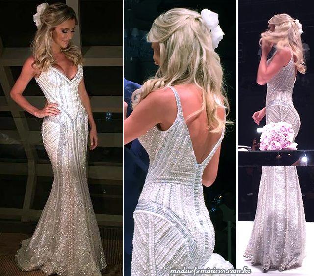 Cabelos penteados noiva - Vestido de noiva de luxo Ana Paula Siebert estilista Samuel Cirnansck | http://modaefeminices.com.br/2015/05/01/roberto-justus-e-ana-paula-siebert-se-casam-em-sao-paulo/