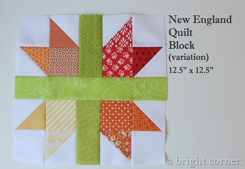New England quilt block looks similar to Sister's Choice. I like the scrappy aspect of this block. Tutorial at http://www.abrightcorner.com/2013/07/new-england-quilt-block-tutorial.html. free quilt block tutorial: scrappy New England block