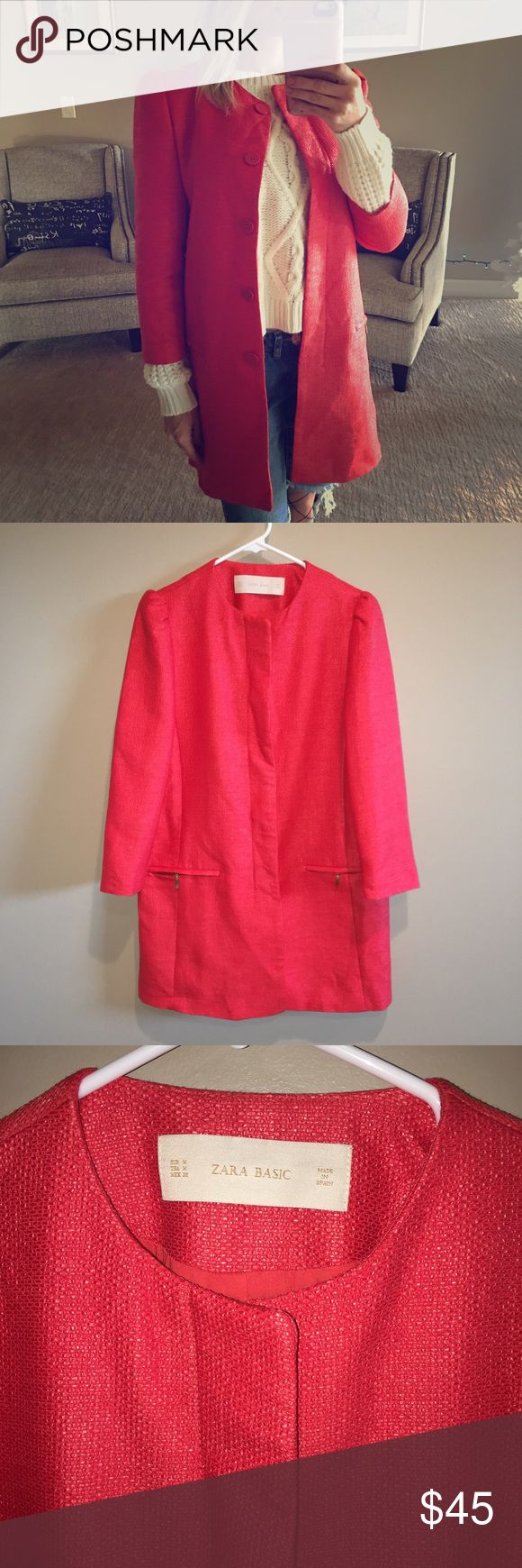Zara jacket Lightweight woven material, size medium with cropped sleeves and touching on shoulders Zara Jackets & Coats