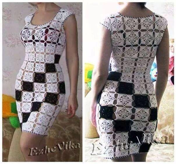 Vestido Blanco y Negro, tejido en Crochet.
