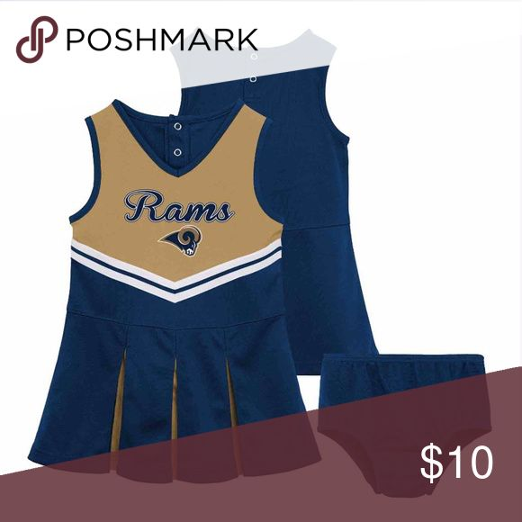 NFL Los Angeles Rams Girls Cheer Dress BLOOMERS NOT INCLUDED!  Your child will be happy to show support for their favorite team wearing the Little Girls, NFL Cheerleader dress. This Little Girls Team Cheerleader set is officially licensed by the NFL! NFL TEAM APPAREL Dresses Casual